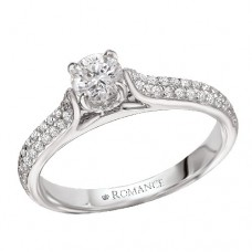 #WC118024  14k White Gold, Round Brilliant, Cathedral, Semi-Mount Diamond Engagement Ring