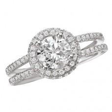 #WC118105  14k White Gold, Round Brilliant Halo, Split Shank, Semi-Mount Diamond Engagement Ring