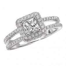 #WC118106  14k White Gold, Princess Cut Halo, Split Shank, Semi-Mount, Diamond Engagement Ring