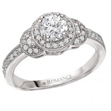 #WC118117 14k White Gold, 3-Stone Round Brilliant Halo, Semi-Mount, Diamond Engagement Ring