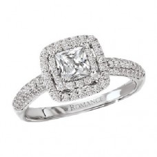 #WC118137  14K White Gold, Double Halo Princess Cut. Cathedral Semi-Mount, Diamond Engagment Ring