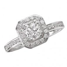 #WC118148  14K White Gold, Cushion Halo for Princess Cut Diamond, Semi-Mount Engagement Ring