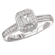 #WC118157  14K White Gold, Emerald Cut Halo. Semi-Mount, Diamond Engagement Ring