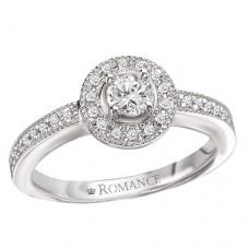 #WC118171 14K White Gold, Round Brilliant Halo. Semi-Mount, Diamond Engagement Ring