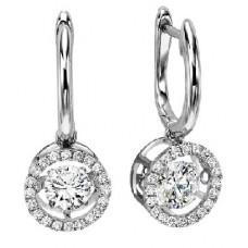 #WROL1014 Dancing Diamond Earrings in 14K White Gold - 3/4 ctw