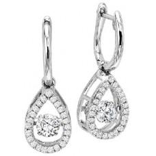 #WROL1015 Dancing Diamond Earrings in 14K White Gold - 3/4 ctw