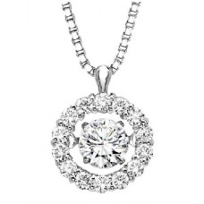 ##WROL1025 Dancing Diamonds Pendant in 10K White Gold - 1/5 ctw