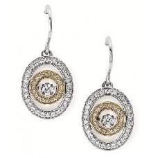 #SD13E31-.50 Dancing Diamonds Two-Tone Earrings 1/2ctw