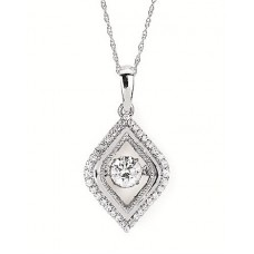 #SD13P25-.50 Dancing Diamonds Pendant in 14k White Gold 1/2ctw