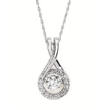 #SD13P27-.40 Dancing Diamonds Pendant in 14k White Gold 3/8ctw