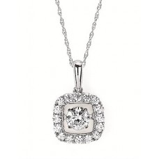 #SD13P29-.50 Dancing Diamonds Pendant in 14k White Gold 1/2ctw