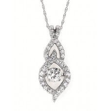 #SD13P30-.50 Dancing Diamonds Pendant in 14k White Gold 1/2ctw