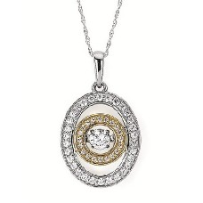 #SD13P31-.50 Dancing Diamonds Two-Tone Pendant 1/2ctw
