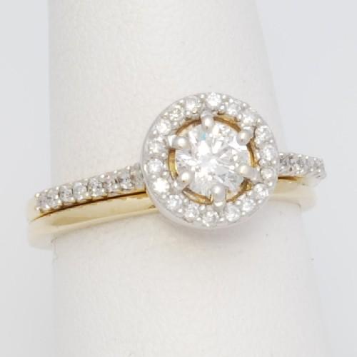 Ed51wr 14k Two Tone Halo Wedding Ring Set